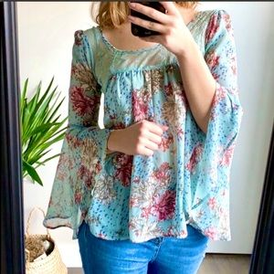 Guess Blue Floral Lace Chiffon Bell Sleeve Blouse